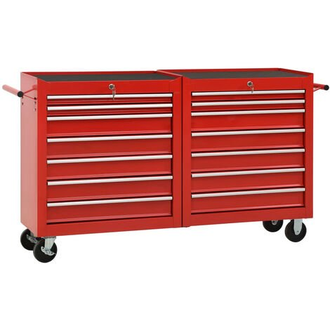 vidaXL Tool Trolley with 14 Drawers Steel Red - Red