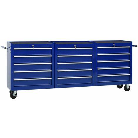vidaXL Tool Trolley with 15 Drawers Steel Blue (147179+2x147180) - Blue