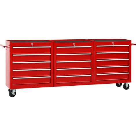 vidaXL Tool Trolley with 15 Drawers Steel Red (147175+2x147176) - Red