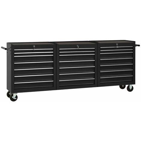 vidaXL Tool Trolley with 21 Drawers Steel Black (147185+2x147186) - Black