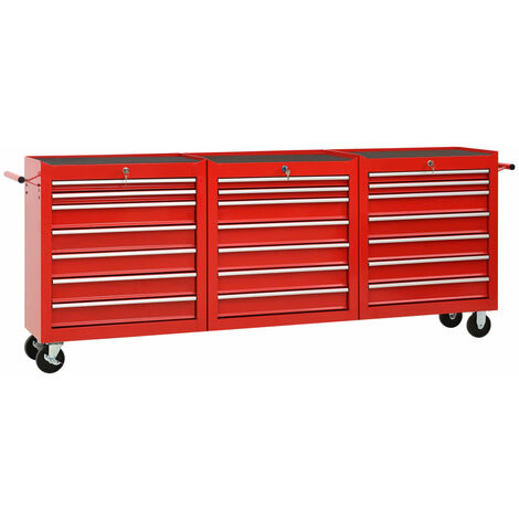 vidaXL Tool Trolley with 21 Drawers Steel Red (147177+2x147178) - Red