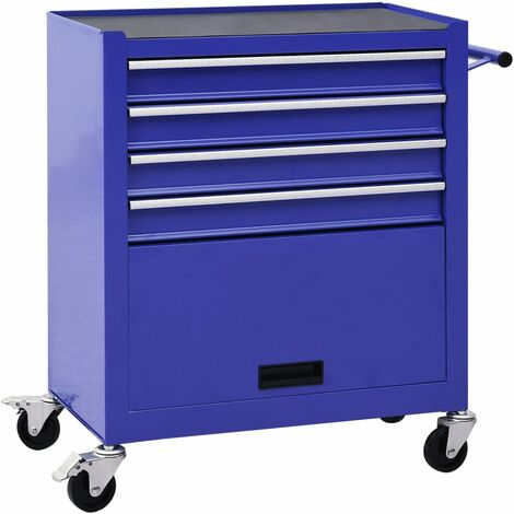 vidaXL Tool Trolley with 4 Drawers Steel Blue - Blue