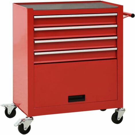 vidaXL Tool Trolley with 4 Drawers Steel Red - Red