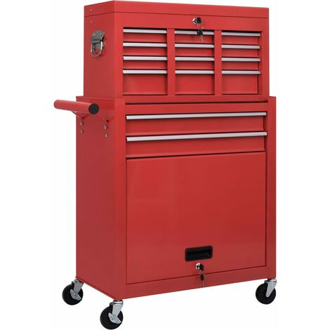 vidaXL Tool Trolley with Tools 7 Layers - Red