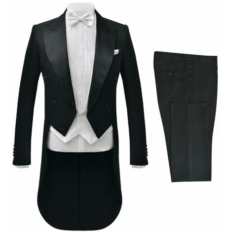 vidaXL Traje de vestir corbatín blanco hombre 2 piezas negro talla 48 - Negro