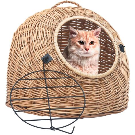 vidaXL Transportín para gatos sauce natural 45x35x35 cm - Marrón