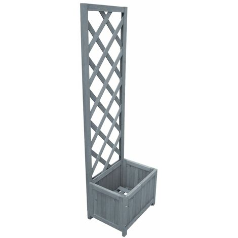 vidaXL Trellis Planter 40x30x135 cm Solid Firwood - Grey