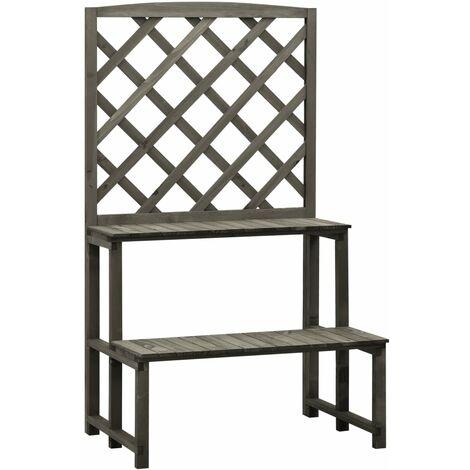 vidaXL Trellis Planter with Shelves Grey 70x42x120 cm Solid Firwood - Grey