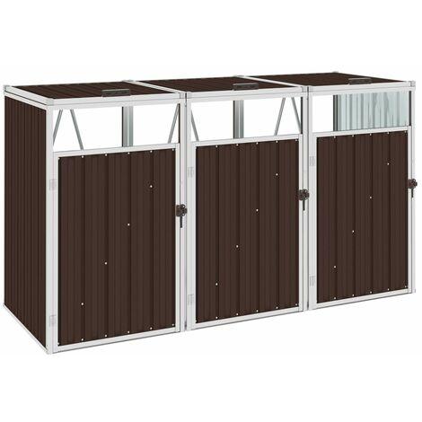 vidaXL Triple Garbage Bin Shed Brown 213x81x121 cm Steel - Brown