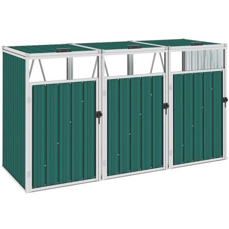vidaXL Triple Garbage Bin Shed Green 213x81x121 cm Steel - Green
