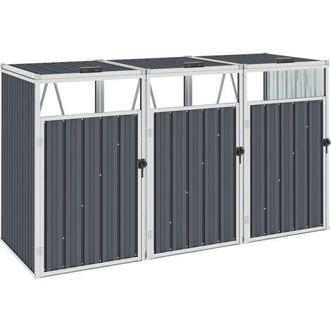 vidaXL Triple Garbage Bin Shed Grey 213x81x121 cm Steel - Grey