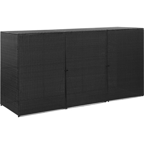 vidaXL Triple Wheelie Bin Shed Black 229x78x120 cm Poly Rattan - Black