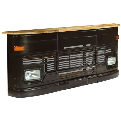vidaXL Truck Bar Table Solid Mango Wood Dark Grey - Grey