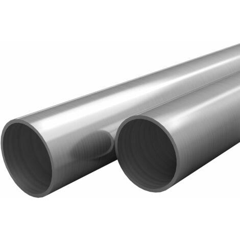 vidaXL Tubos de acero inoxidable redondos 2 unidades V2A 2 m Ø70x1,8mm