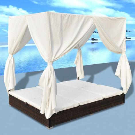VidaXL Tumbona con cortinas de ratan sintetico marron(no se puede enviar a Baleares)
