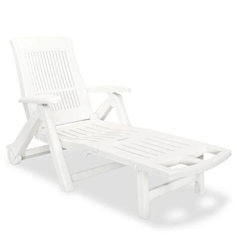 vidaXL Tumbona con Reposapiés Jardín Patio Exterior Porche Asiento Tumbona al Aire Libre Playa Piscina Sillas Plástico Blanca/Verde/Gris Antracita