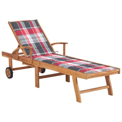 vidaXL Tumbona de madera maciza de teca con cojín a cuadros rojos