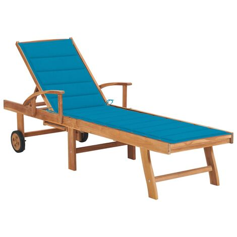 vidaXL Tumbona de madera maciza de teca con cojín azul