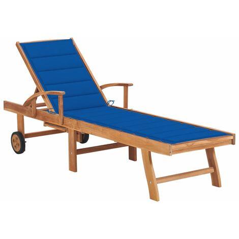 vidaXL Tumbona de madera maciza de teca con cojín azul royal