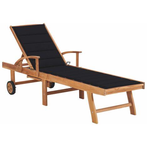 vidaXL Tumbona de madera maciza de teca con cojín negro