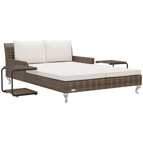 vidaXL Tumbona doble de jardín con cojines ratán sintético marrón - Marrón