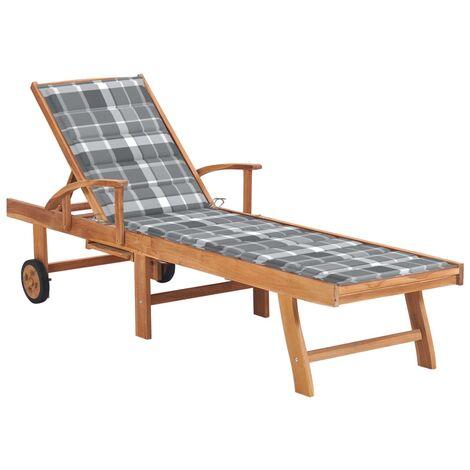 vidaXL Tumbona madera maciza de teca con cojín a cuadros grises
