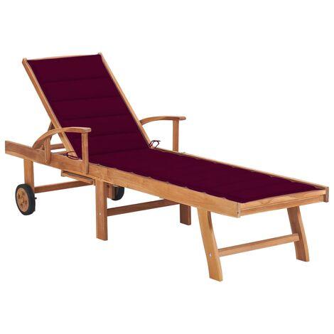 vidaXL Tumbona madera maciza de teca con cojín rojo tinto