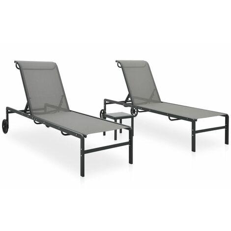 vidaXL Tumbonas con mesa 2 unidades textilene y acero - Gris