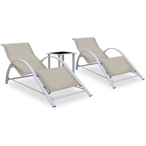 vidaXL Tumbonas con mesita 2 unidades aluminio color crema - Crema