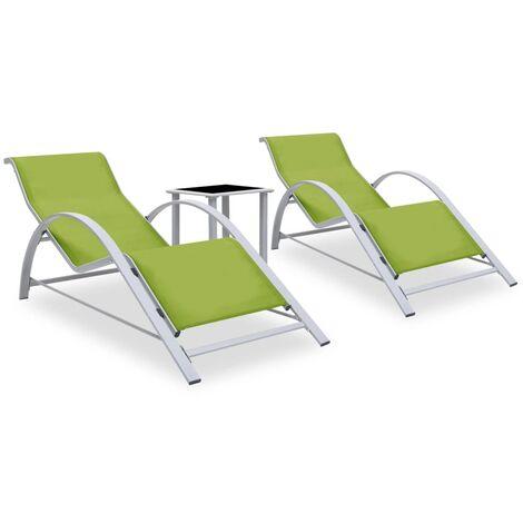 vidaXL Tumbonas con mesita 2 unidades aluminio verde - Verde