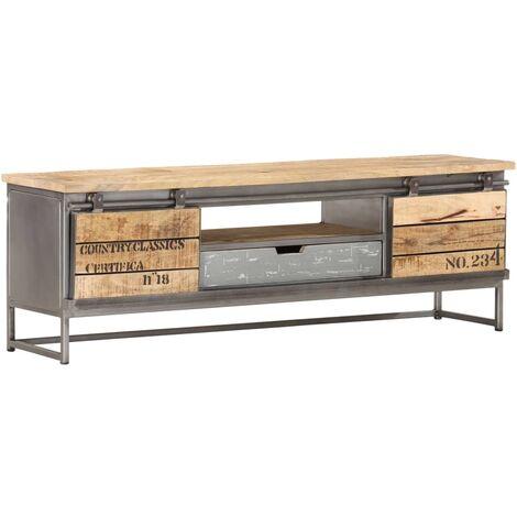 "main image of ""vidaXL TV Cabinet 120x30x40 cm Solid Mango Wood - Grey"""