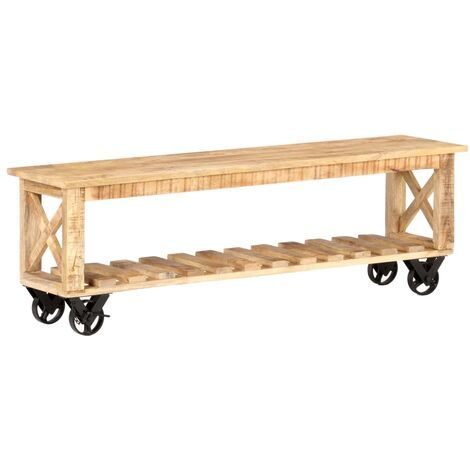 vidaXL TV Cabinet 130x30x42 cm Rough Mango Wood - Brown
