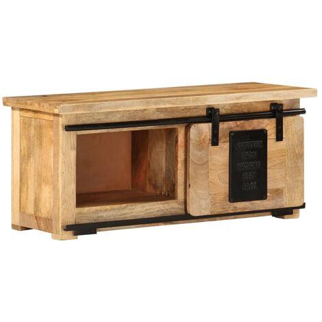 vidaXL TV Cabinet 90x35x40 cm Solid Mango Wood - Brown