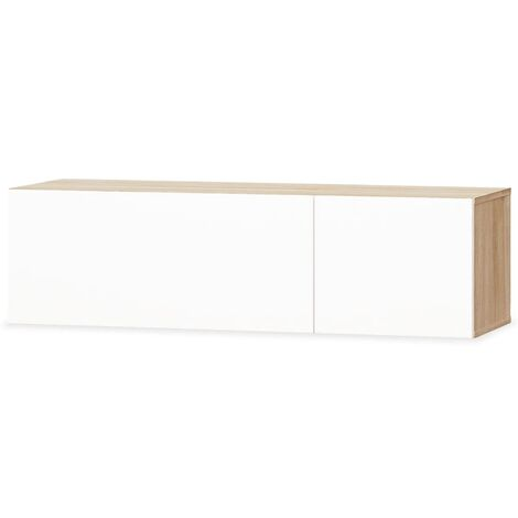 """main image of """"vidaXL TV Cabinet Chipboard 120x40x34 cm High Gloss Storage Unit Stand HiFi Cabinet TV Stand Sideboard Lowboard Living Room White/White and Oak"""""""