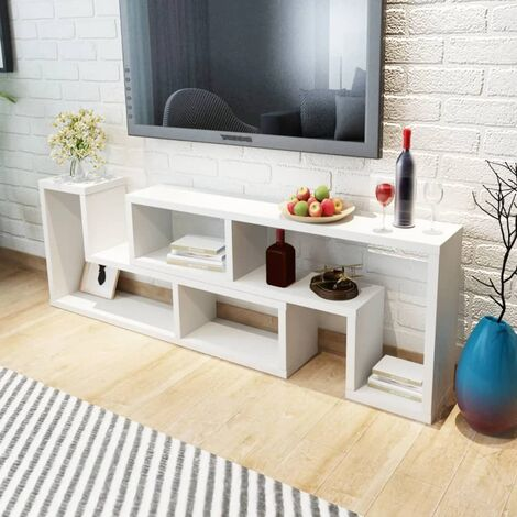 vidaXL TV Cabinet Double L-Shaped Stand Shelf Home Furniture DVD Oak/White