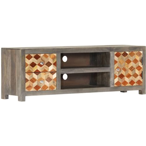 vidaXL TV Cabinet Grey 120x30x40 cm Solid Mango Wood - Grey