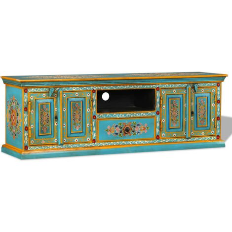 vidaXL TV Cabinet Solid Mango Wood Hand Painted TV Stand Lowboard Storage Cabinet Sideboard Display Shelf Living Room Furniture Pink/Blue