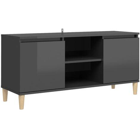 "main image of ""vidaXL TV Cabinet & Solid Wood Legs High Gloss Grey 103.5x35x50 cm - Grey"""