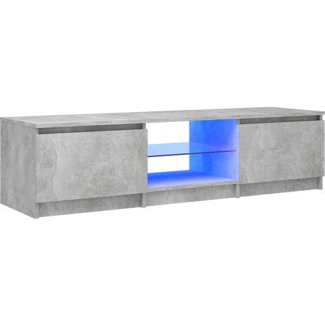"main image of ""vidaXL TV Cabinet with LED Lights Concrete Grey 140x40x35.5 cm - Grey"""