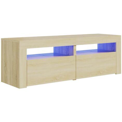 "main image of ""vidaXL TV Cabinet with LED Lights Sonoma Oak 120x35x40 cm - Brown"""
