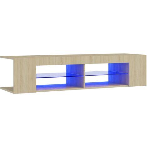 "main image of ""vidaXL TV Cabinet with LED Lights Sonoma Oak 135x39x30 cm - Brown"""