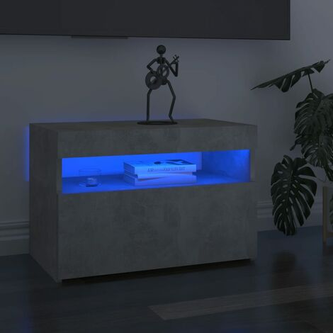 "main image of ""vidaXL TV Cabinets with LED Lights 2 pcs Concrete Grey 60x35x40 cm - Grey"""