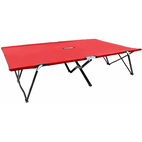 vidaXL Two Person Folding Sun Lounger Red Steel - Red