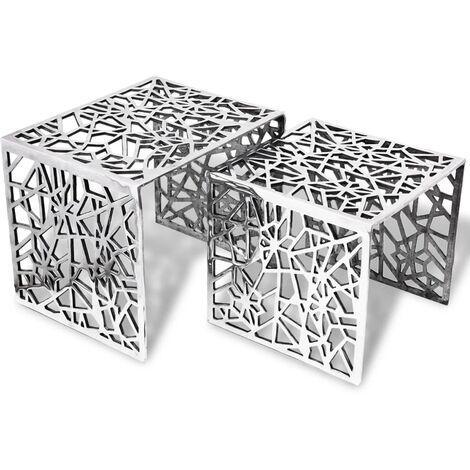 vidaXL Two Piece Side Tables Square Aluminium Silver - Silver