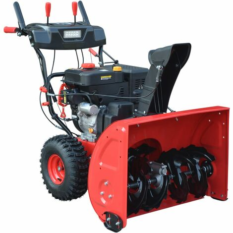 vidaXL Two-Stage Snow Blower Electric/Manual Start 11 HP 302 cc - Red