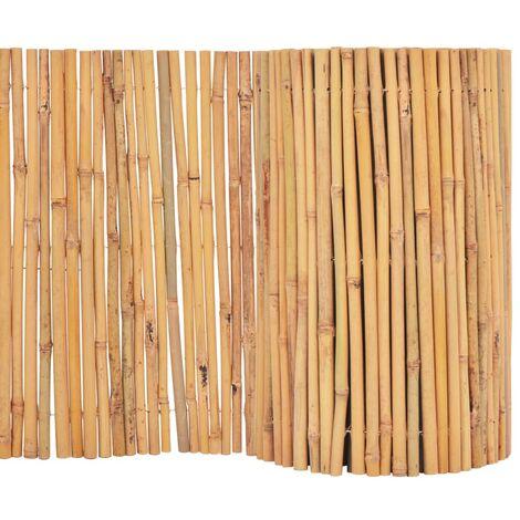 vidaXL Valla Cañizo de Jardín Patio Listones Césped Bordes Cercado Postes Flores Protección Separador Exterior de Bambú Diferentes Dimensiones
