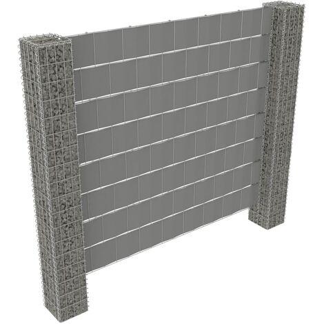 vidaXL Valla de gaviones 2 postes acero galvanizado y PVC 180x180cm - Plateado