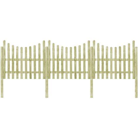 vidaXL Valla de jardín 4 postes madera pino impregnada 510x150 cm - Verde