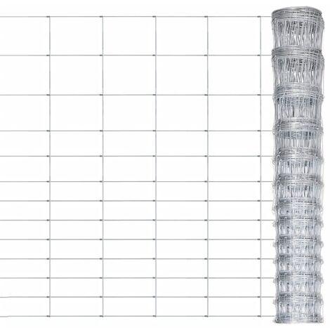 vidaXL Valla de jardín de acero galvanizado plateado 50x1,6 m - Plateado