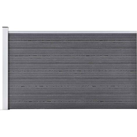 vidaXL Valla de jardín de WPC gris 180x105 cm - Gris